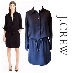 J.Crew Drapey Crepe Shirtdress sz L Black LS $138